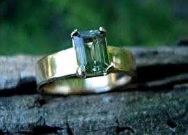 Emerald-Cut Green Sapphire Ring