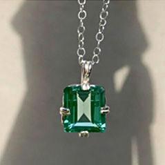 Emerald Shaped Green Sapphire Pendant