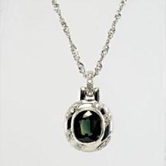 Green Sapphire Pendant in Platinum
