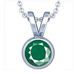 Green Sapphire Pendant in Sterling Silver