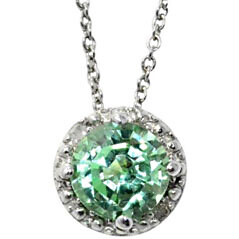 Green Sapphire Pendant in White Gold