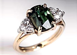 Oval-Cut Green Sapphire Ring