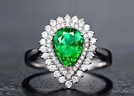 Pear-Cut Green Sapphire Ring