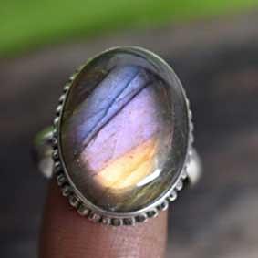 Purple Labradorite Ring Silver