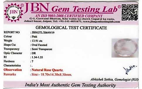 Rose Quartz Ring Certification