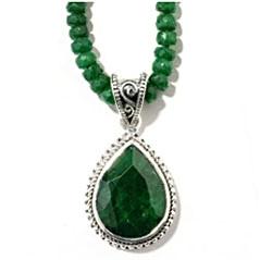 Teardrop Shaped Green Sapphire Pendant