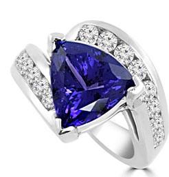 Trillion Cut Tanzanite Ring