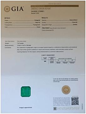 GIA Certified Zambian Emerald