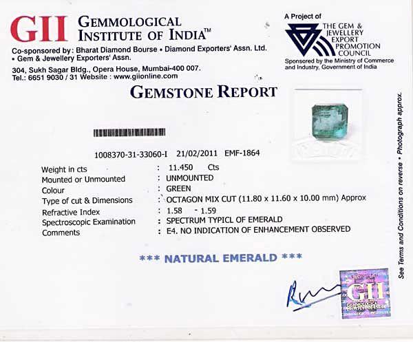 GII Certified Zambian Emerald