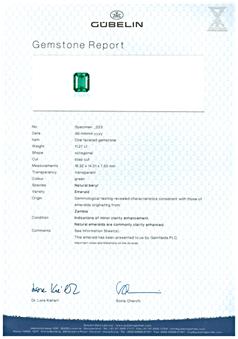 Gubelin Certified Zambian Emerald
