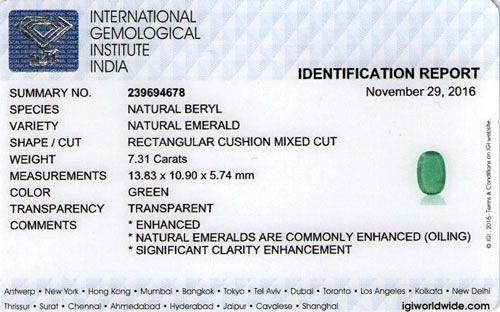 IGI Certified Zambian Emerald