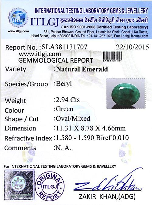 ITLGJ Certified Zambian Emerald