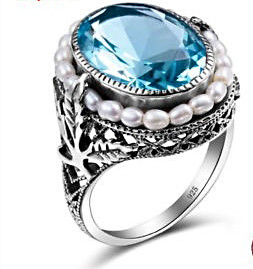 Aquamarine Pearl Ring
