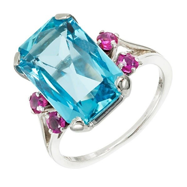 Aquamarine Ruby Ring