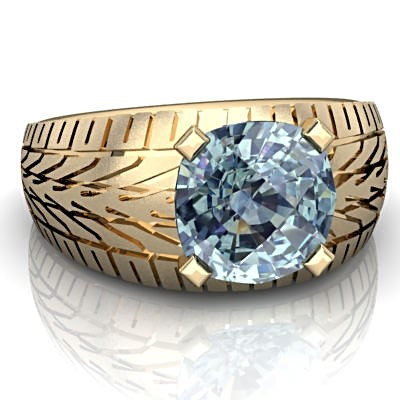Men's Aquamarine Wedding Ring in Gold