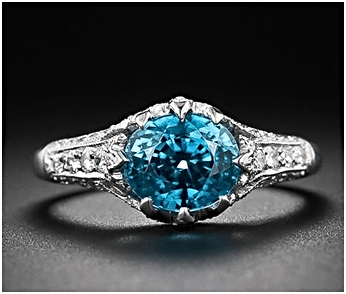 Blue Zircon Birthstone Ring