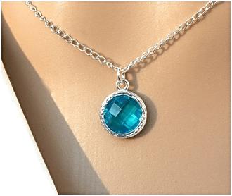 Round Blue Zircon Charm Pendant