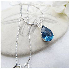 Antique Blue Zircon Drop-shape Pendant
