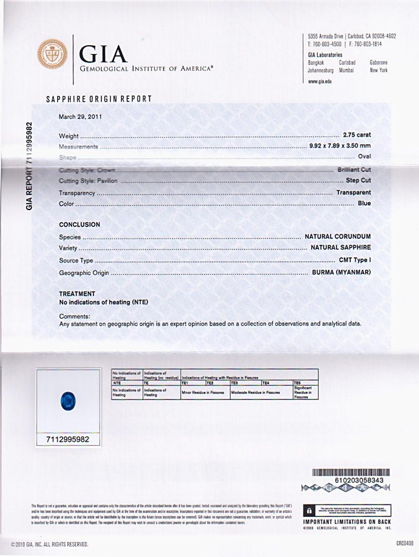 GIA certified Burmese Sapphire