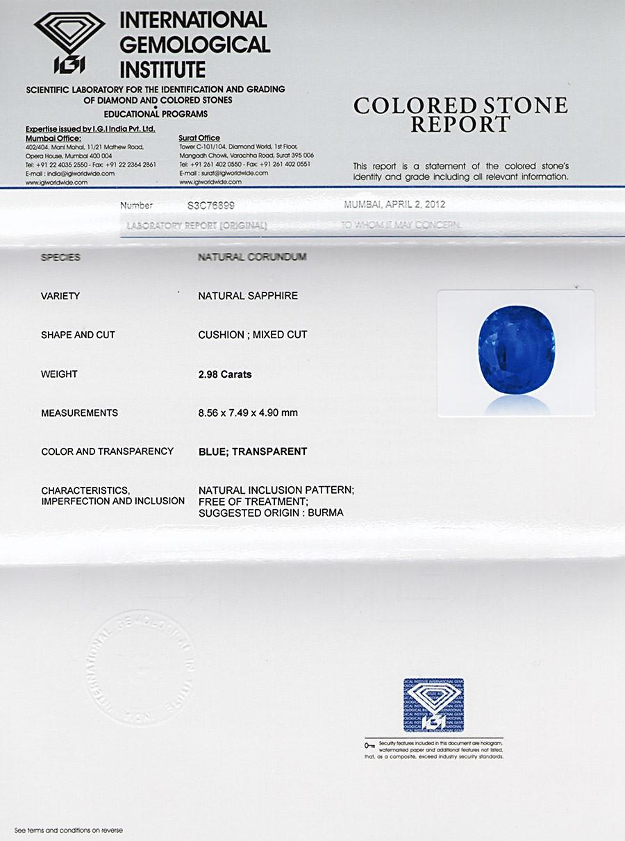 IGI certified Burmese Sapphire
