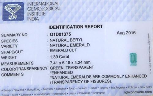 IGI Certified Emerald