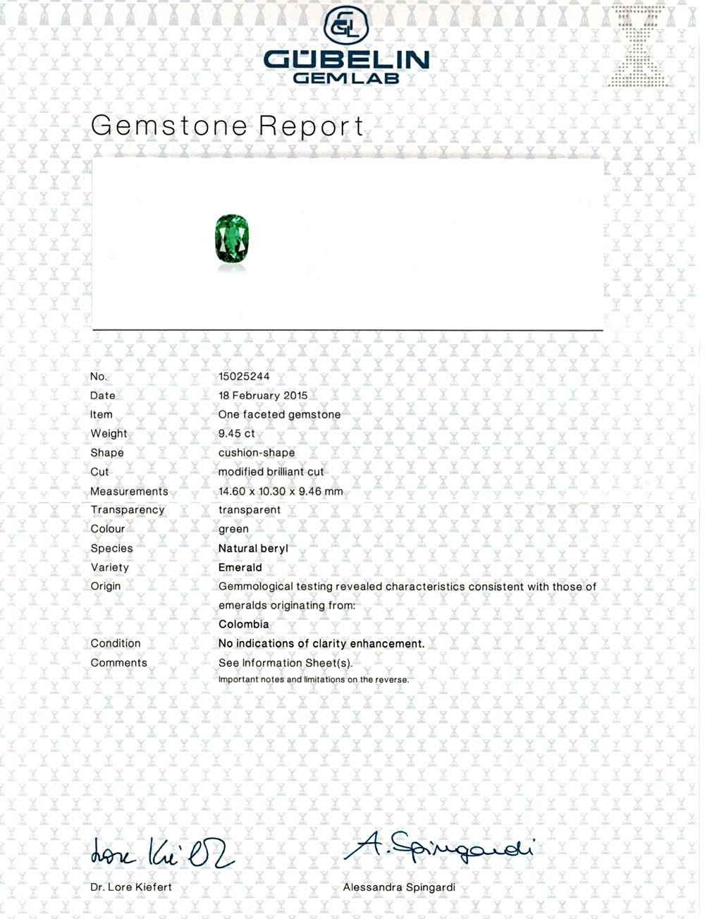 Gubellin Certified Emerald
