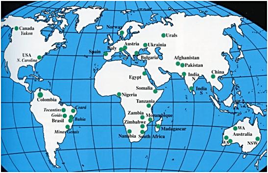 Emeralds mines (Panna mines) present across the globe