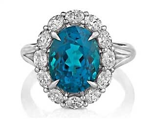 Indicolite and Diamond Studded Ring