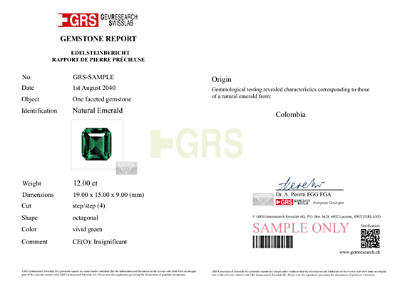 GRS Certified Insignificant Oil Emerald