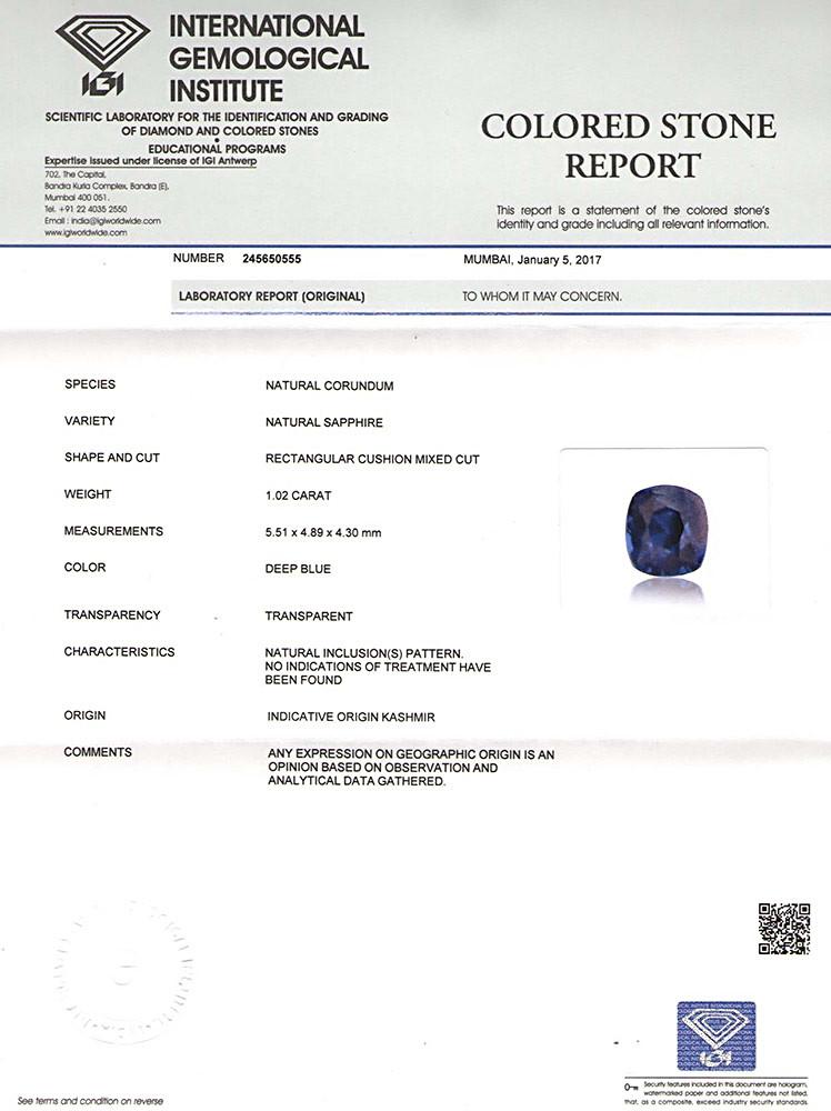 IGI Certified Kashmir Neelam