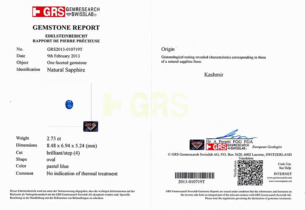 GRS certified Kashmir Sapphire