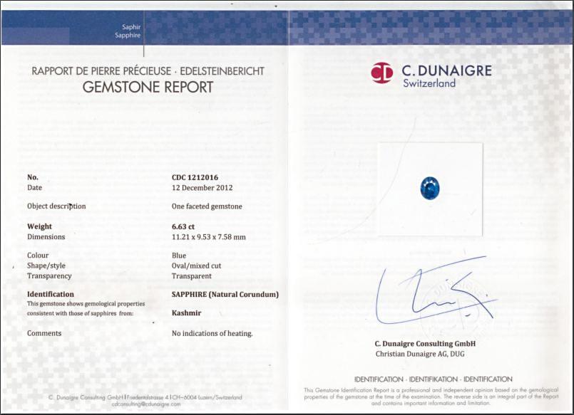 C. Dunaigre certified Kashmir Sapphire