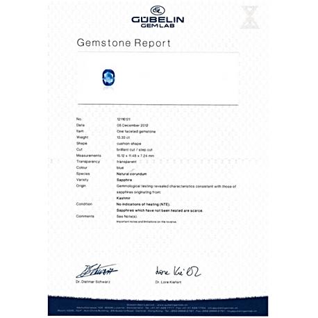 Gubellin certified Kashmir Sapphire