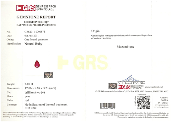 GRS Certificate of Mozambique Ruby