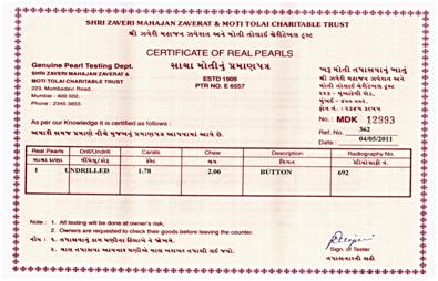 Zaveri Lab Pearl Certificate