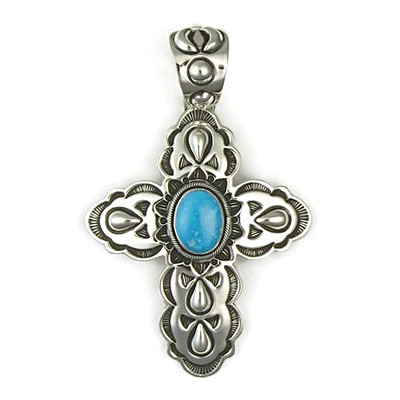 Natural Turquoise Cross Pendant
