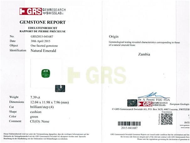 GRS Certified No Oil Emerald – 7.39 Carats from Zambia at GemPundit