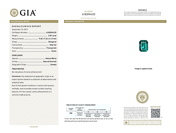GIA certified No Oil Emerald