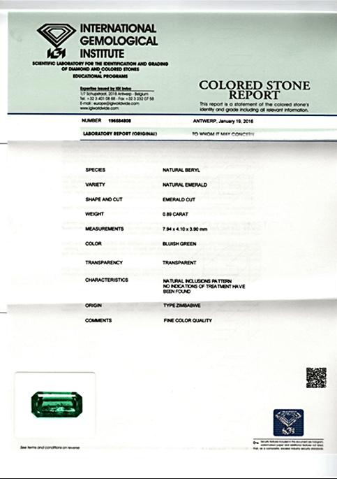 IGI Certified No Oil emerald from Zimbabwe