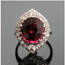 Round cut Red Tourmaline Ring