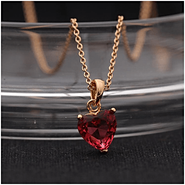 Heart shaped Red Zircon Pendant