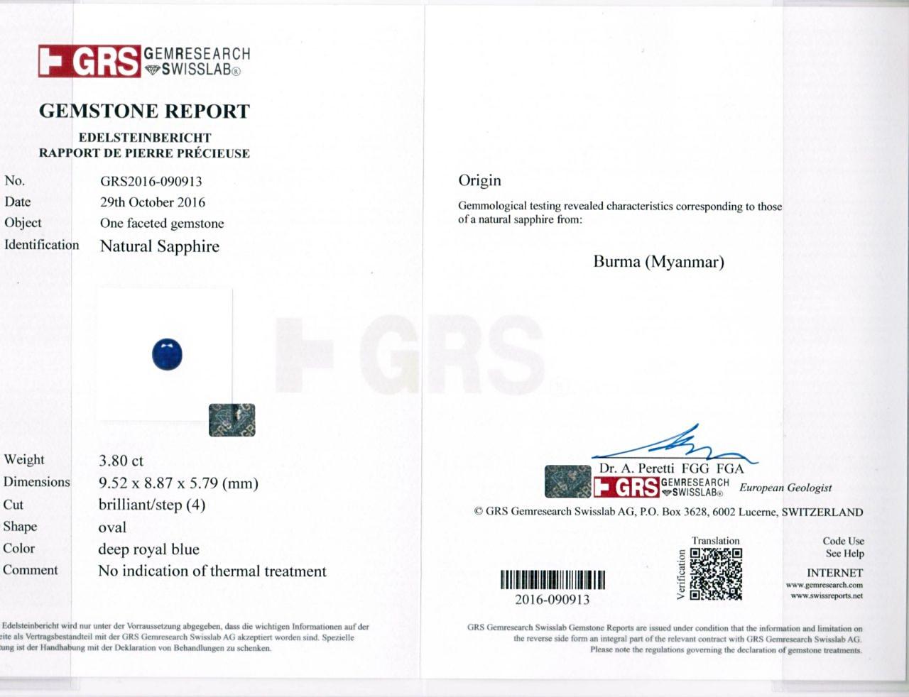 GRS certified Burmese Royal blue sapphire
