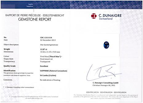 C.Dunaigre certified Royal Blue Sapphire