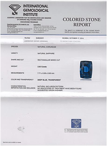 IGI certified Kashmir Royal Blue Sapphire