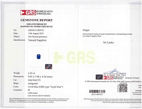 GRS certified Royal Blue Sapphire Sri Lanka