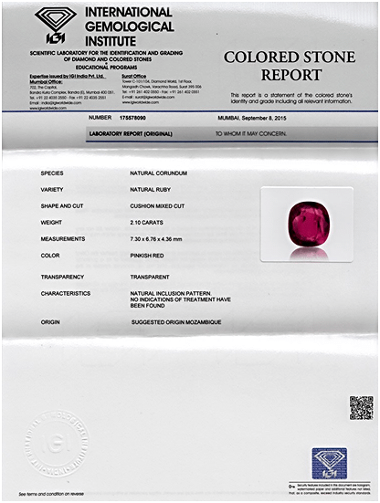 IGI Certified Mozambique Ruby