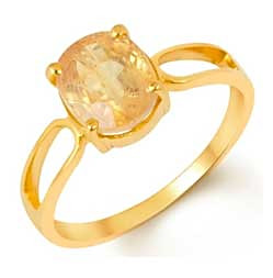 Simplistic Natural Yellow Sapphire Ring for Women