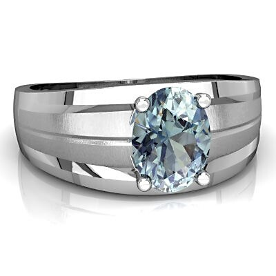 Sterling Silver Aquamarine Ring for Men