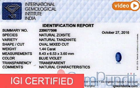 IGI Certified Tanzanite