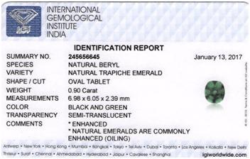 IGI certified Trapiche emerald